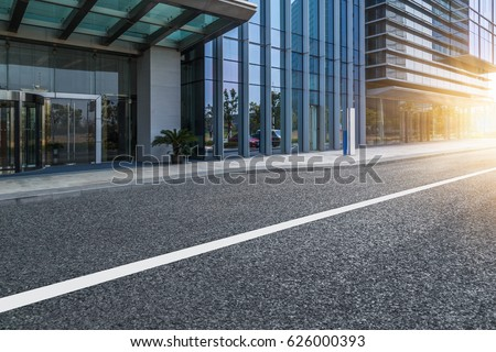 clean urban road with modern building in the city