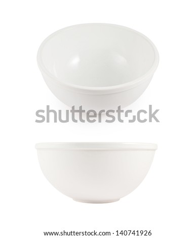 Clean white ceramic bowls isolated over white background in two different foreshortenings