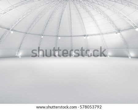 Clean white empty warehouse dome exhibition space car stage 3d illustration