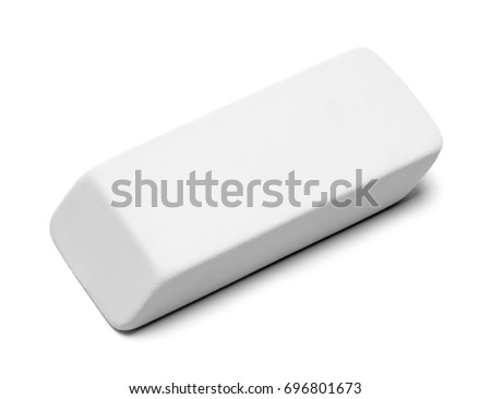 Clean White Eraser Isolated on White Background. Foto stock ©