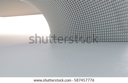 CLean white modern architecture background car stage 3D illustration