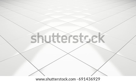 Clean white tile floor 3d rendering perspective