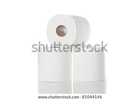 Clean white toilet paper against a white background