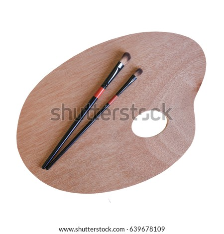Clean wooden palette with brushes. Painting. Isolated on white background.  #639678109