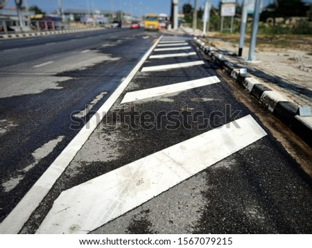 Cleaned road surface From rinsing water