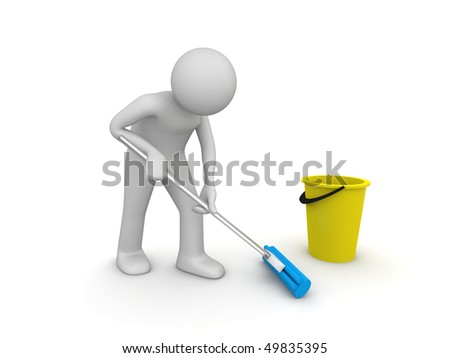 Cleaner at work (3d isolated on white background characters series)