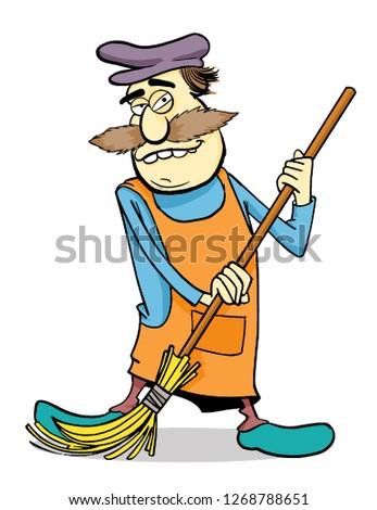 cleaner caricature man