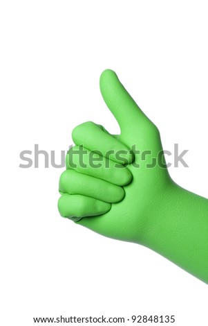 cleaner hand in green rubber glove gesturing ok isolated on white background