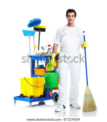 Cleaner man with janitor cart. Isolated on white background..