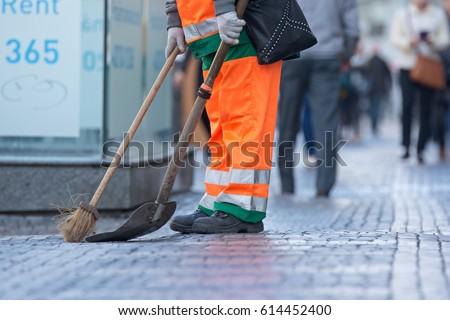 Cleaner on Wenceslas Square in Prague