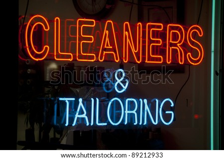 Cleaners and tailoring neon sign