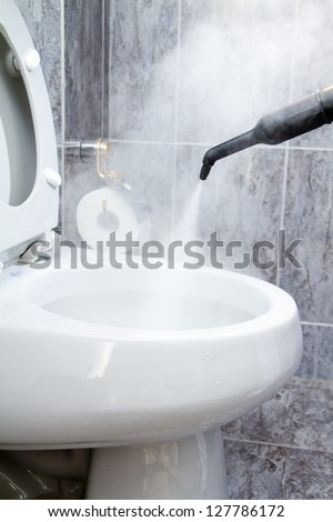 cleaning a toilet with steam