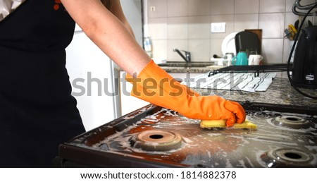 Cleaning and degreasing the kitchen Stock photo ©