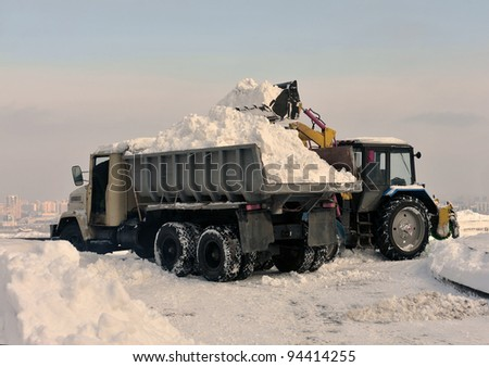 cleaning and snow loading on the truck