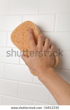 Cleaning Bathroom Tile Wall close up