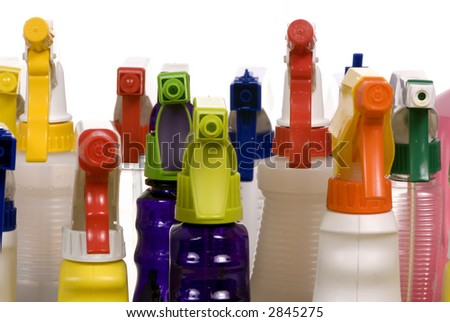 Cleaning bottles line up in rows...for that dreaded housework.