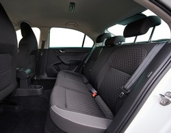 Cleaning car service theme. Dark grey textile car seats