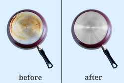 Cleaning carbon deposits on kitchen utensils. Dirty pan bottom and clean. Gray background. Before and after.