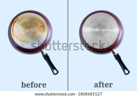 Cleaning carbon deposits on kitchen utensils. Dirty pan bottom and clean. Gray background. Before and after. Photo stock ©