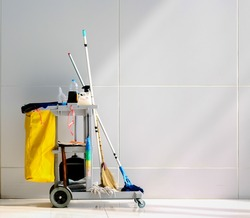 Cleaning Cart in the  station.Cleaning cart with wall background.cleaning cart copy space