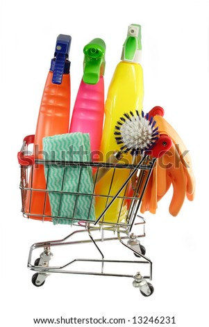 Cleaning equipment in a modell shopping trolley on white background
