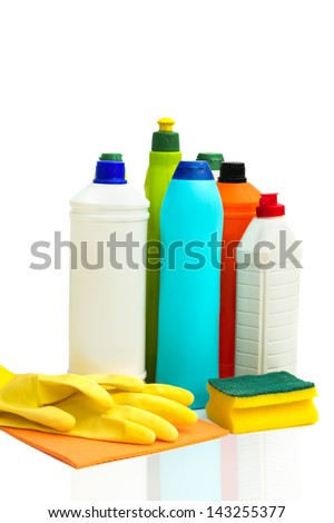 Cleaning equipment isolated over white