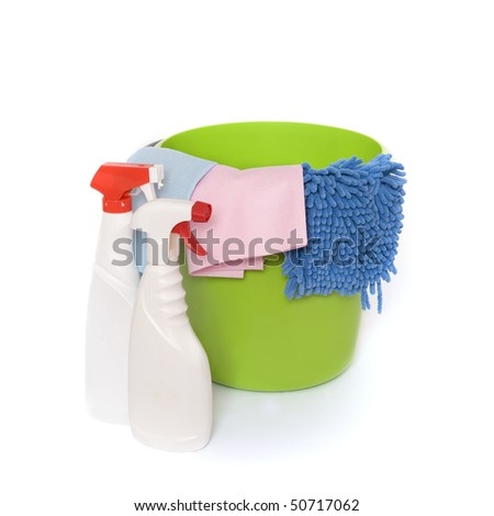 Cleaning equipment on white background - stock photo