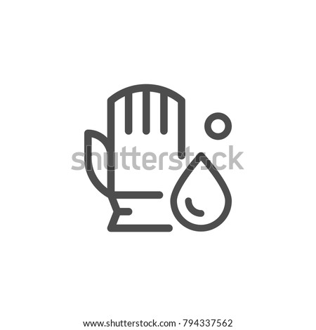 Cleaning glove line icon isolated on white