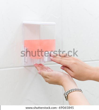 Cleaning hand gel in a box ready to use by pumping the image isolated