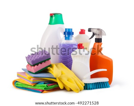 Cleaning items isolated on a white background stock photo