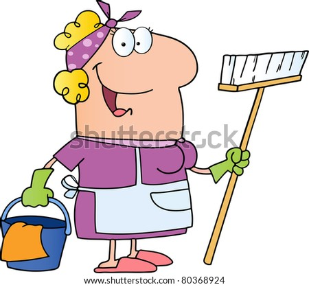 Cleaning Lady Cartoon Character.Vector version also available
