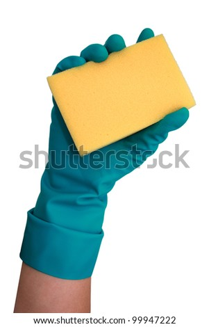Cleaning lady's hand holing yellow cleaning sponge isolated on white