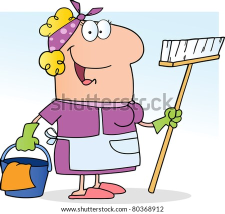 Cleaning Lady.Vector version also available