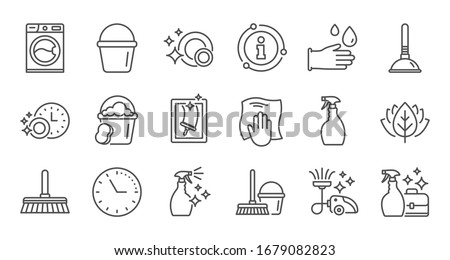 Cleaning line icons. Laundry, Window sponge and Vacuum cleaner. Washing machine linear icon set. Quality line set.
