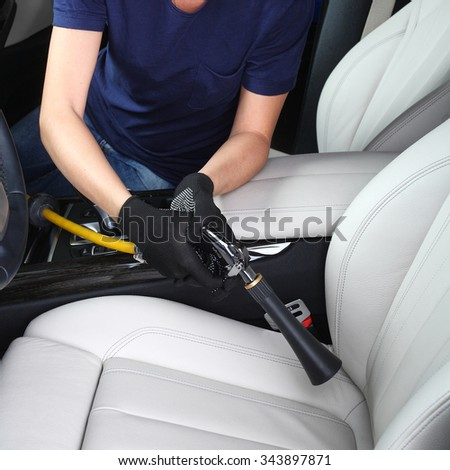 Cleaning of  interior of the car hot steam