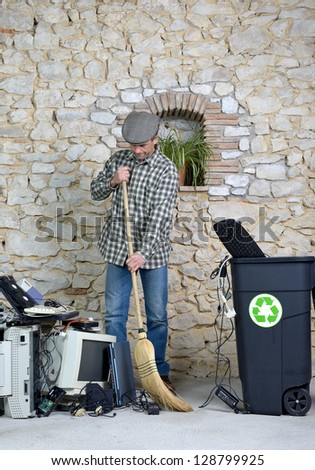 cleaning of old computer equipment for recycling - stock photo