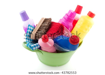 cleaning products as a bucket liquids soap and brushes
