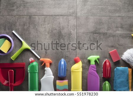 Cleaning products. Home cleaning concept. Top view. Place for typography and logo.