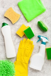 cleaning products household chemicals spray brush sponge glove