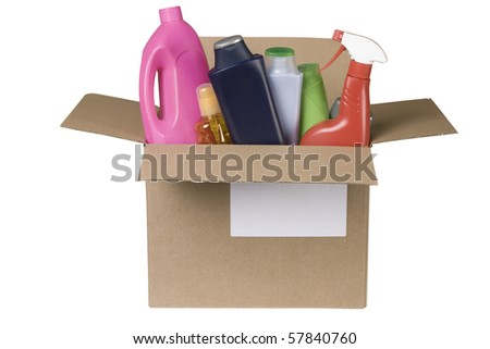 cleaning products in cardboard box on white background