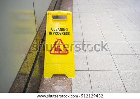 cleaning progress caution sign in public toilet