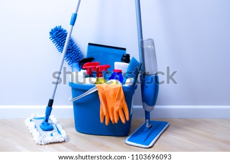Cleaning service. Bucket with sponges, chemicals bottles and mopping stick.  Household equipment. #1103696093