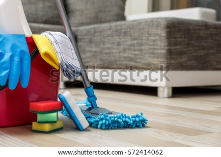Cleaning service. Bucket with sponges, chemicals bottles and mopping stick. Rubber gloves and towel. Household equipment. #572414062