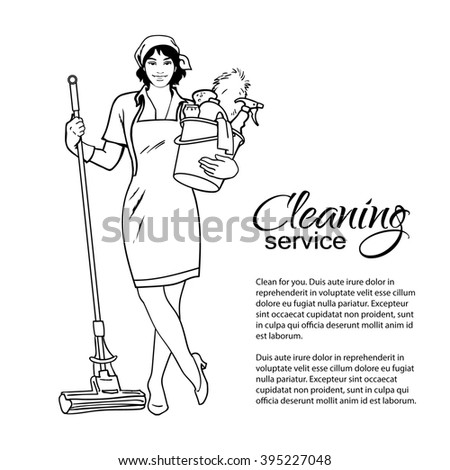 Cleaning Services. The Cleaner With A Mop. Cleaning Homes And ...