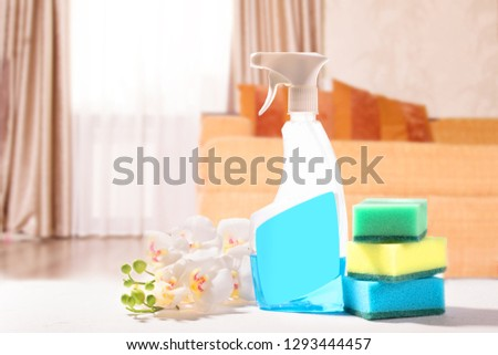 Cleaning set. Spring clean up. On blurry background #1293444457