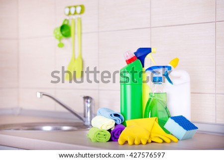 Cleaning supplies and equipment on the kitchen countertop | EZ Canvas