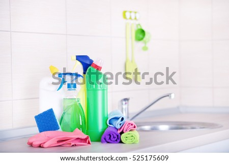 Cleaning supplies and tools on the kitchen countertop | EZ Canvas