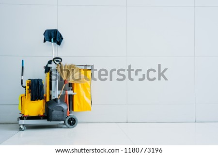 cleaning supplies with modern background and copy space for advertisement text.