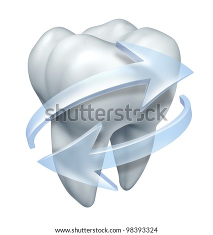 Cleaning teeth dentist and tooth hygiene symbol with a single molar and transparent water icon arrows cleansing and rinsing to prevent cavities and gum disease on a white background.