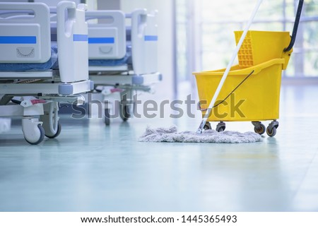 Cleaning the patient room in a modern hospital, Cleaner, hospital cleaning